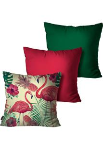 Kit Com 3 Capas Para Almofadas Pump Up Decorativas Verde Flamingo 45X45Cm