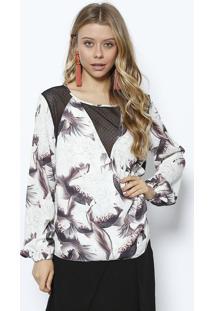 Blusa Floral Com Recortes Em Tela- Off White & Pretalez A Lez
