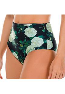 Calcinha Hot Pant Floral- Preta & Verde- Fleeuse Flee