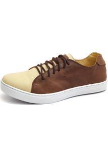 Sapatênis Casual Shoes Grand Estampado Creme/Café