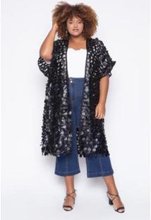 Kimono Almaria Plus Size Alt Brand Circle Feminino - Feminino-Preto