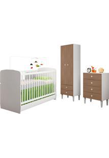 Quarto De Bebê Completo Com Berço, Cômoda, Guarda-Roupa E Nicho Docinho – Art In Móveis - Branco / Montana