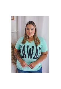 Blusa Estampada Almaria Plus Size Annes Gola Redonda Verde