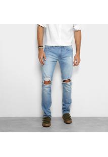 Calça Jeans Colcci Alex Estonada Com Rasgos Masculina - Masculino-Azul Claro