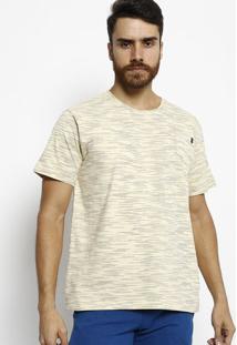 Camiseta Slim Fit Mescla Com Bolso - Amarelo Claro & Azuogochi