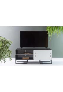 Rack Para Tv Pequeno Preto Estilo Industrial Pés De Metal Porta De Correr Branca Crosby 123X43,6X48,5 Cm
