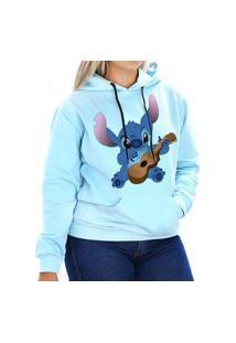 Blusa Moletom Canguru Little Stitch Unissex Azul