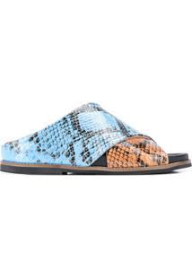 Ganni Sandália Com Efeito Pele De Cobra - Azul