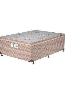 Cama Box Casal Essential – Probel - Branco / Marrom / Camurça