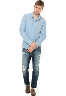 Camisa Osmoze Manga Longa Masculina - Masculino-Azul Claro