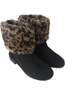 Bota De Pelo Sapatoweb Dobrável Camurça Feminina - Feminino-Preto