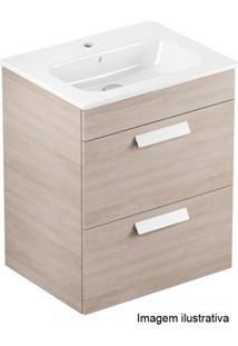 Gabinete Para Banheiro Em Mdf Com Lavatório Debba 45X60Cm Branco E Amantea