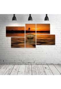 Quadro Decorativo - Boat-Dawn-Dusk-Lake-Reflection - Composto De 5 Quadros - Multicolorido - Dafiti