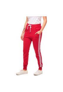 Calça De Moletom Feminina Saruel Skinny Sport Luxo - M1-Vermelho
