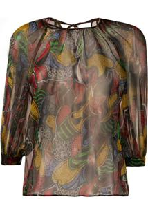 Missoni Blusa Translúcida Com Estampa Gráfica - Preto