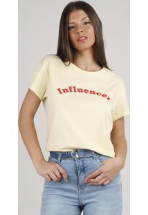 "Blusa Feminina ""Influencer"" Ampla Manga Curta Decote Redondo Amarela Claro"
