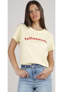 "Blusa Feminina Bbb ""Influencer"" Ampla Manga Curta Decote Redondo Amarela Claro"