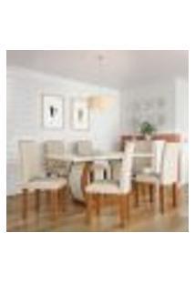 Conjunto De Mesa De Jantar Com 6 Cadeiras Estofadas Amélia I Veludo Off White E Creme