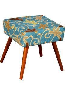 Puff Banqueta Decorativa Com Pã©S Palito LãVia W01 Suede Floral Azul - Lyam Decor - Azul - Dafiti