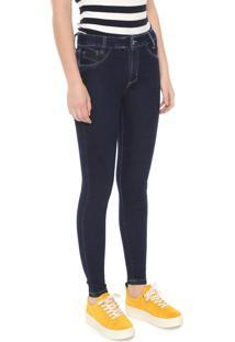 Calça Jeans Sawary Skinny Push Up Azul-Marinho