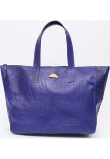 Bolsa Em Couro Texturizada Com Tag- Azul Escuro- 29Xdi Marlys