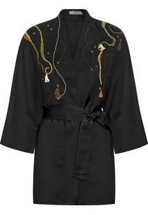 Kimono Feminino Bordado - Preto