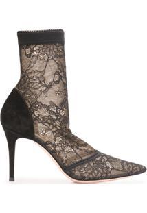 Gianvito Rossi Floral Lace Ankle Boots - Preto