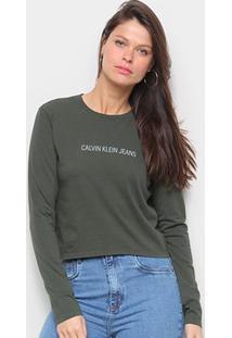 Blusa Cropped Calvin Klein Logo Manga Longa Feminina - Feminino-Verde Militar