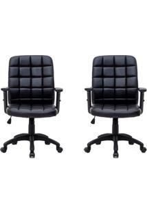 Conjunto Com 2 Cadeiras De Escritório Diretor Giratórias Com Braços Ajustáveis Fitz Preto