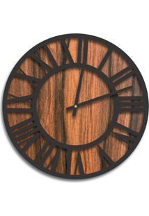 Relógio De Parede Premium Amadeirado Com Números Romanos Em Relevo Preto Ônix 50Cm Grande