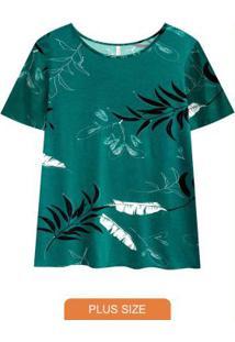 Blusa Tecido Com Mangas Estampada Verde