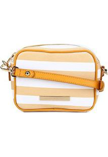 Bolsa Couro Jorge Bischoff Mini Bag Transversal Feminina - Feminino-Branco+Amarelo