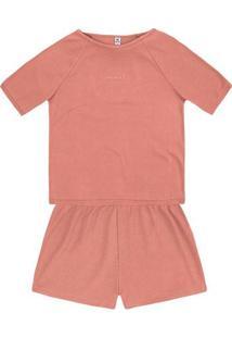 Pijama Feminino Em Malha De Algodão Com Detalhe De Bordado