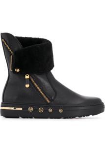 Baldinini Ankle Boot De Couro - Preto