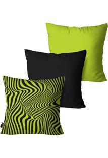 Kit Com 3 Capas Para Almofadas Pump Up Decorativas Verde Listras E Curvas 45X45Cm