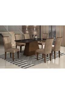 Conjunto De Mesa Lunara Ii 180 Cm Com 6 Cadeiras Animalle Castor E Chocolate