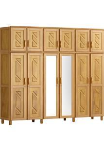 Guarda-Roupa Grécia Casal Mel Com Espelho 12 Portas 3 Gavetas E Maleiro Madeira Maciça De Pinus Cavazotto