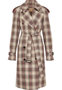 Burberry Trench Coat Xadrez - Marrom