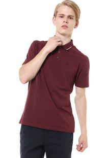 Camisa Polo Calvin Klein Jeans Reta Logo Vinho