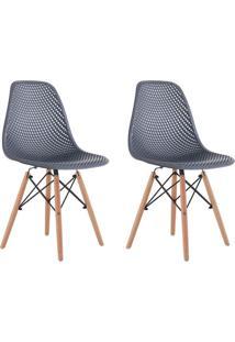Conjunto Com 2 Cadeiras Eames Com Tramas Eiffel Base Madeira Preto