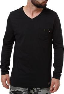 Camiseta Manga Longa Masculina Preto