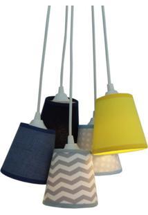 Lustre Pendente Mix Tecidos Chevron Crie Casa Cinza, Azul E Amarelo