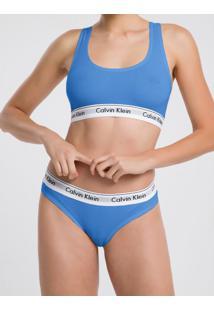 Calcinha Tanga Clássica Azul Médio Underwear Calvin Klein - S