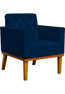 Poltrona Decorativa Sala De Estar Base Fixa Manu Capitonê Suede Azul Marinho - Lyam Decor