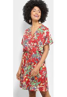 Vestido Jasmim Estampado Floral Cantão Feminino - Feminino-Vermelho