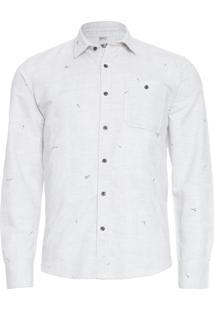 Camisa Masculina Micro Roses - Cinza Claro