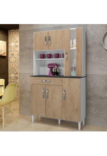 Armário De Cozinha 6 Portas 1 Com Vidro 1 Gaveta Arte Móveis Bege