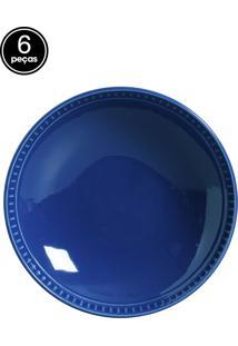 Jogo De Pratos Fundos 6 Pçs Sevilha Azul Navy Porto Brasil