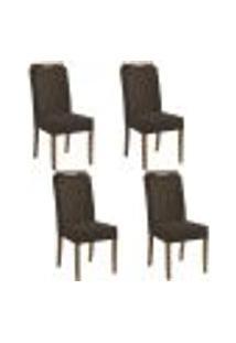 Kit 4 Cadeiras Estofadas Heloísa 100% Madeira Suede Marrom