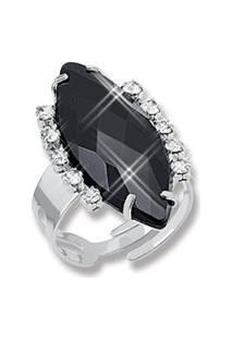 Anel Le Diamond Strass E Acrílico Lapidado Preto